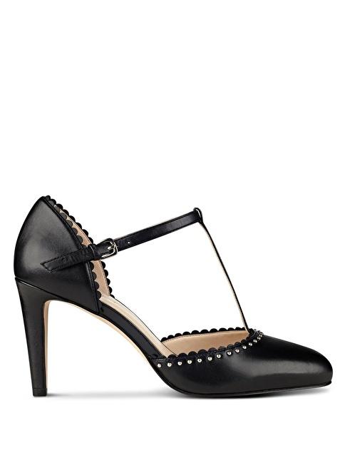 Nine West T Bantlı Kısa İnce Topuklu Deri Ayakkabı Siyah